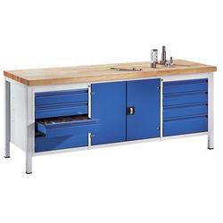 Stół warsztatowy, stabilny,8 szuflad w rozmiarze L, 1 szafka na narzędzia
