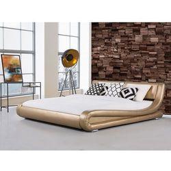 Łóżko złote - 160x200 cm - łóżko skórzane - ze stelażem - AVIGNON