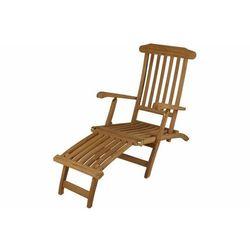 Leżak Florentine z drewna tekowego z podnóżkiem