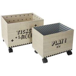 Atmosphera créateur d'intérieur 2 x pudło na zabawki, skrzynka na kółkach, pojemnik na kółkach, skrzynia do przechowywania, skrzynka drewniana, pojemnik drewniany