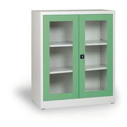 B2b partner Szafa ze szklanymi drzwiami, 1150x920x400 mm, szaro-zielona