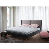 Łóżko ciemnobeżowo-szare - 160x200 cm - łóżko tapicerowane - VALENCE