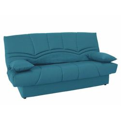 Sofa SALOON II typu clic-clac, ze 100% bawełny, z pojemnikiem na pościel – kolor morski, kolor zielony