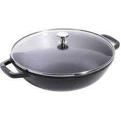 Staub wok średni z pokrywką szklaną 30cm czarny