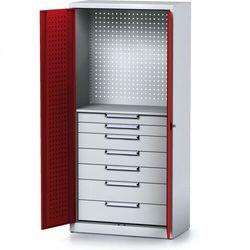 Alfa 3 Szafa warsztatowa mechanic, 1950 x 920 x 500 mm, 1 półka, 7 szuflad, czerwone drzwi