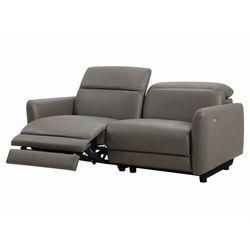 Sofa 3-osobowa z elektryczną funkcją relaksu CLEOPHEE ze skóry premium - Kolor taupe