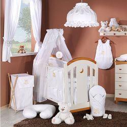 pościel 5-el haft miś na chmurce w bieli do łóżeczka 70x140cm - szyfon marki Mamo-tato