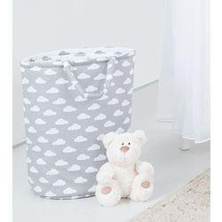 dwustronny kosz na zabawki chmurki białe na szarym / chmurki szare na bieli marki Mamo-tato
