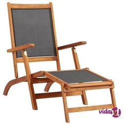 leżak, lite drewno akacjowe i textilene marki Vidaxl