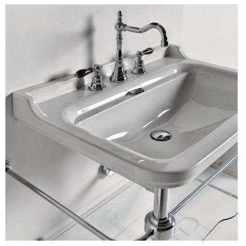waldorf umywalka biała klasyczna 80x55cm z pierścieniem odpływu w kolorze - złoty - 4141k2, marki Kerasan