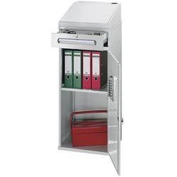 Przemysłowy pulpit stojący, z 1 szufladą nad szafką, szer. 450 mm, jasnoszary. p marki Rau