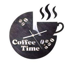 Drewniany zegar na ścianę Coffee Time z białymi wskazówkami, kolor czarny