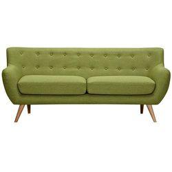 Sofa 3-osobowa z tkaniny SERTI - Soczysta zieleń z dopasowanymi dekoracyjnymi guzikami
