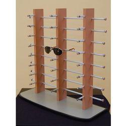 stojak na okulary 24 pary - potrójny, drewnopodobny na szarej podstawie