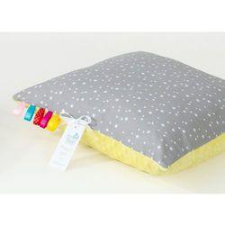 poduszka minky dwustronna 40x40 mini gwiazdki białe na szarym / żółty marki Mamo-tato