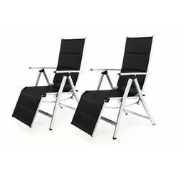 Zestaw 2 leżaków krzeseł ogrodowych z podnóżkiem czarne