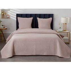 Vente-unique Pikowana narzuta killy 230 × 250 cm i 2 poszewki na poduszki 65 × 65 cm – poliester – kolor jasny różowy