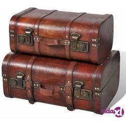 drewniane kufry vintage, brązowe, 2 szt. marki Vidaxl