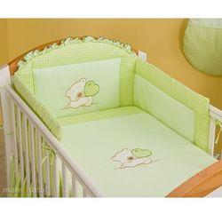 MAMO-TATO pościel 3-el Miś z serduszkiem w zieleni do łóżeczka 70x140cm z kategorii komplety pościeli dla dzieci