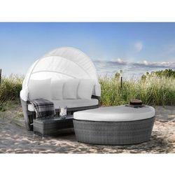 Kosz plażowy szary - ogrodowy - rattanowy - leżanka - sylt lux marki Beliani