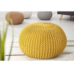 Puf knitted ball - żółty ∅50cm - żółty marki Interior space