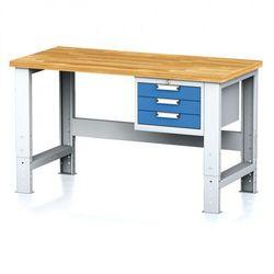 B2b partner Stół warsztatowy mechanic, 1500x700x700-1055 mm, nogi regulowane, 1x szufladowy kontener, 3 szuflady, niebieske