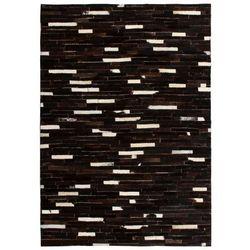 Dywan ze skóry, patchwork w paski, 160 x 230 cm, czarno-biały marki Vidaxl
