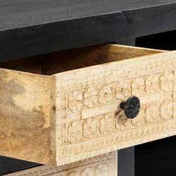 vidaXL Ręcznie rzeźbiona szafka TV, szara, 120x30x40 cm, drewno mango (8719883665948)