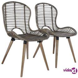 vidaXL Sztaplowane krzesła ogrodowe, 2 szt., naturalny rattan, brązowe