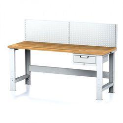 Stół warsztatowy MECHANIC z nadstawką, 2000x700x700-1055 mm, nogi regulowane, 1x 1 szufladowy kontener, szary/szary