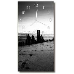 Tulup.pl Zegar szklany pionowy krajobrazy plaża góry czarno-biały