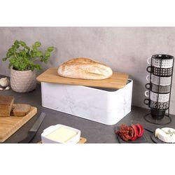 Metalowy chlebak MARBLE z bambusową deską do krojenia, 2w1, ZELLER (4003368193328)