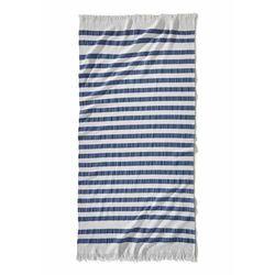 Ręcznik plażowy w paski niebiesko-biały marki Bonprix
