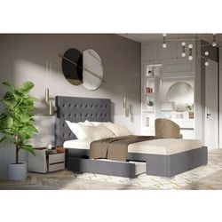 Łóżko 140x200 z 2 szufladami - pesaro welur szare marki Zona meble