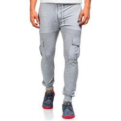 Szare spodnie dresowe bojówki męskie Denley 0485 - SZARY, kolor szary