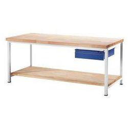 Stół warsztatowy, stabilny,1 szuflada w rozmiarze l, 1 blat z litego drewna bukowego marki Rau