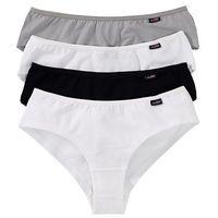 "Figi ""panty"" (4 pary) bonprix czarny + biały + szary, kolor czarny"