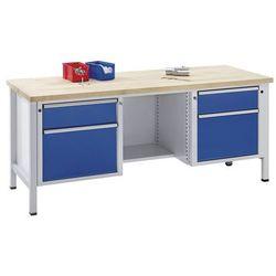 Stół warsztatowy, stabilny, szuflady 2x180 mm, 2x360 mm, ½ półki, lite drewno bu