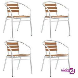 vidaXL Krzesła ogrodowe, sztaplowane, 4 szt., aluminium i WPC, srebrne (8718475714842)