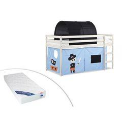 Łóżko na podwyższeniu pirate z niebieskim zasłonkami i czarnym namiotem - 90 × 190 cm - lite drewno sosnowe - biały + materac zeus 90 × 190 cm marki Vente-unique