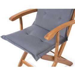 Beliani Krzesło ogrodowe drewniane poducha grafitowa maui (4260586357554)