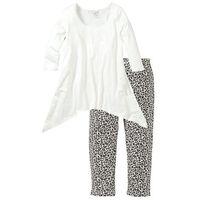 Piżama ze spodniami 3/4 i shirtem z dłuższymi bokami bonprix biel wełny z nadrukiem
