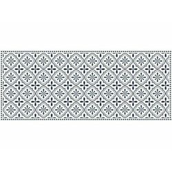 Winylowy chodnik TERQUISE z motywem cementowych płytek – 66 × 160 cm – kolor niebieski i biały