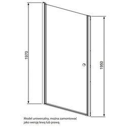Radaway Eos DWJ - drzwi wnękowe jednoczęściowe (wahadłowe) 90 cm 37903-01-01N, kup u jednego z partnerów