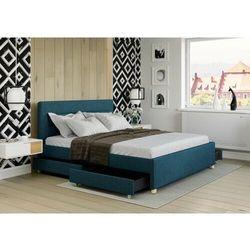 Łóżko 120x200 tapicerowane monza + 4 szuflady + materac sawana lazurowe marki Big meble