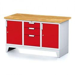 Stół warsztatowy MECHANIC, 1500x700x880 mm, 1x 3 szufladowy kontener, 2x szafka, szara/czerwona
