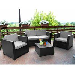 Salon ogrodowy SOPHIE II z tworzywa odlewanego na wzór rattanu: 2 fotele, 2-osobowa sofa, ława – kolor ant