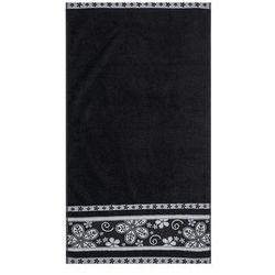4home Florentyna ręcznik fiora czarny, 50 x 90 cm, 50 x 90 cm