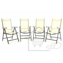 1 Krzesło kremowe 4 szt. - leżak ogrodowy składane