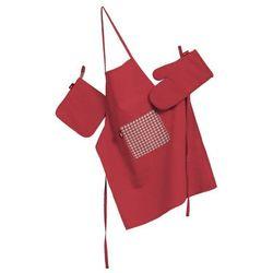 komplet kuchenny fartuch,rękawica i łapacz, czerwony, kpl, quadro od producenta Dekoria